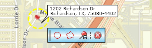 Use location's toolbar to create a radius or drive time drawing on the map