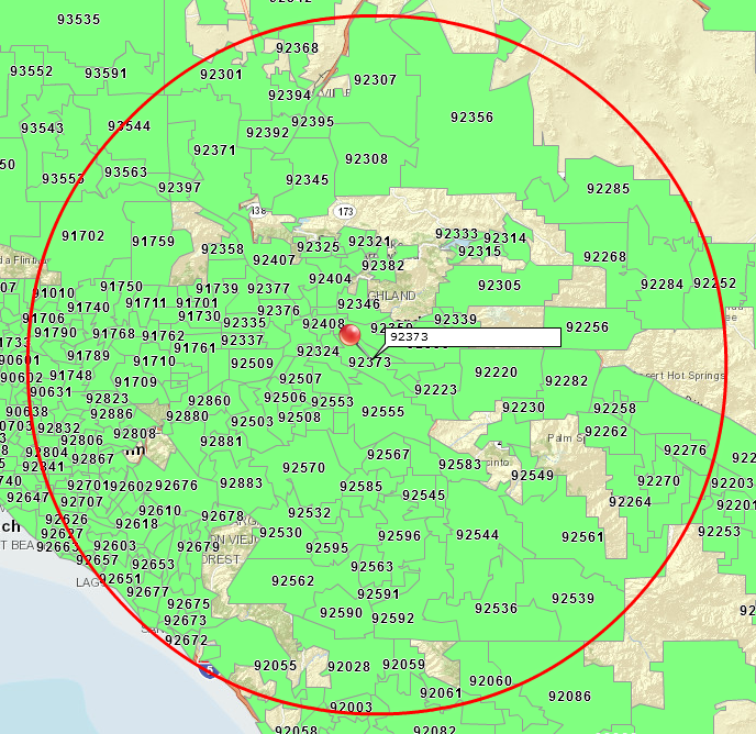Create a Radius Map with ZIP Codes | Map Business Online on zip code area maps, zip code county maps, zip code city maps,