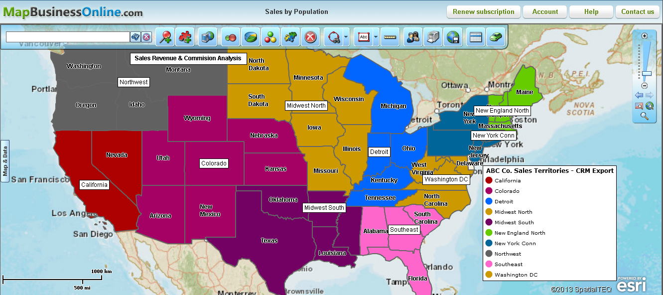 Map Your Business Newsletter - Us sales territory map